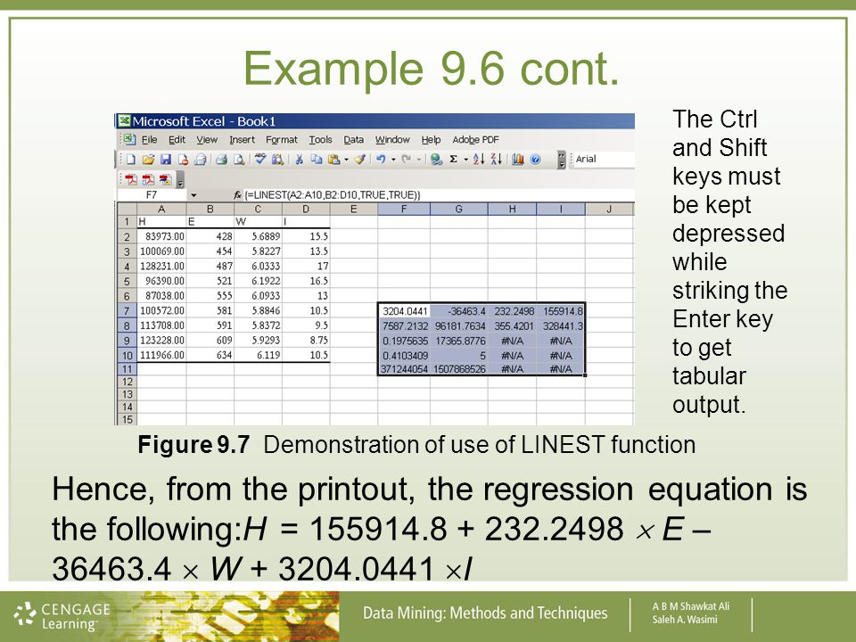 Example 9.6 cont. Hence, from the printout, the regression equation is