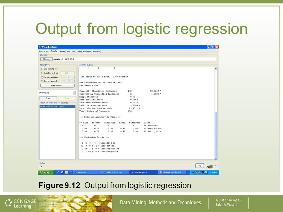 Output from logistic regression