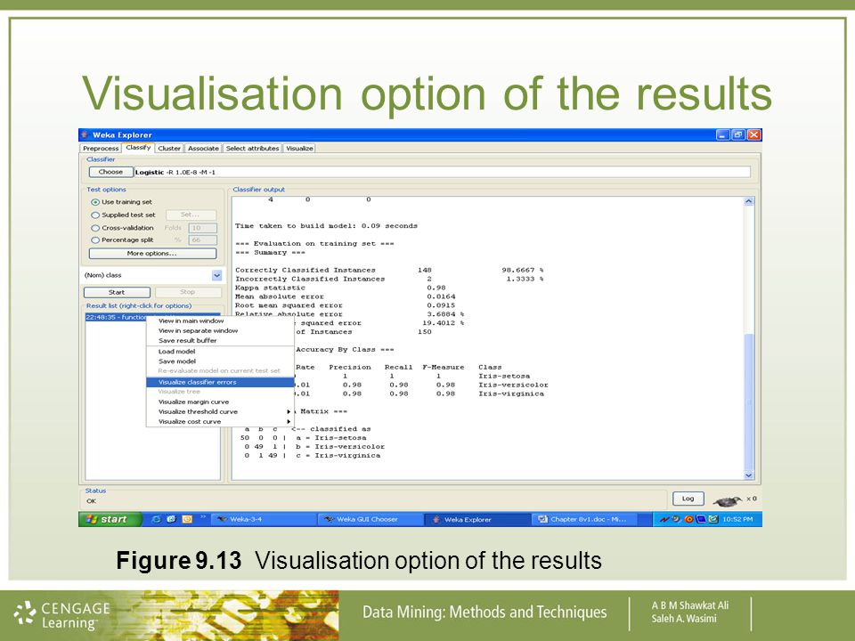 Visualisation option of the results