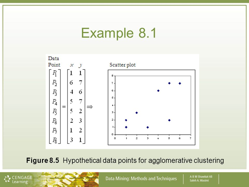 Example 8.1 Figure 8.5 Hypothetical data points for agglomerative clustering