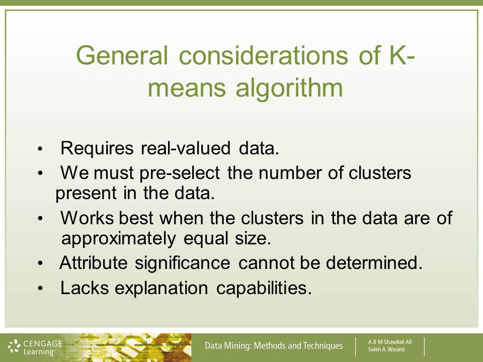 General considerations of K-means algorithm