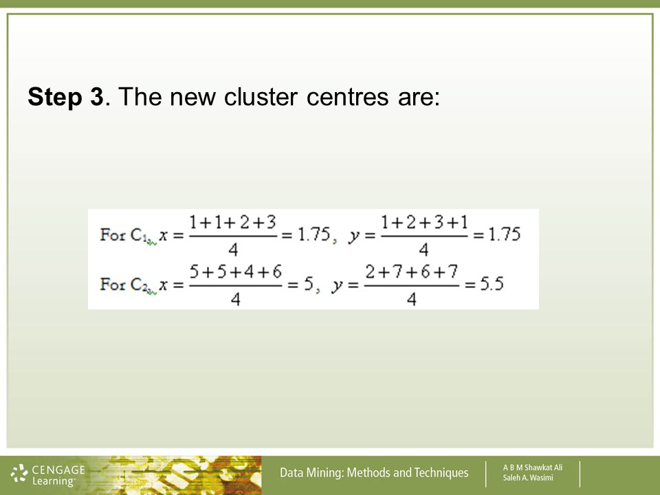 Step 3. The new cluster centres are:
