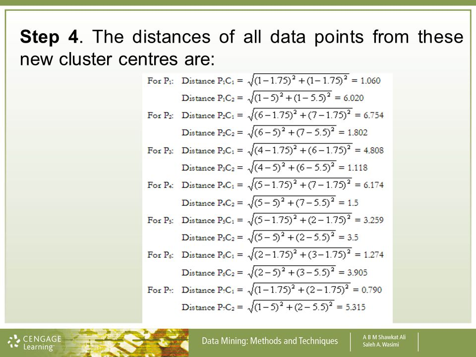Step 4. The distances of all data points from these new cluster centres are: