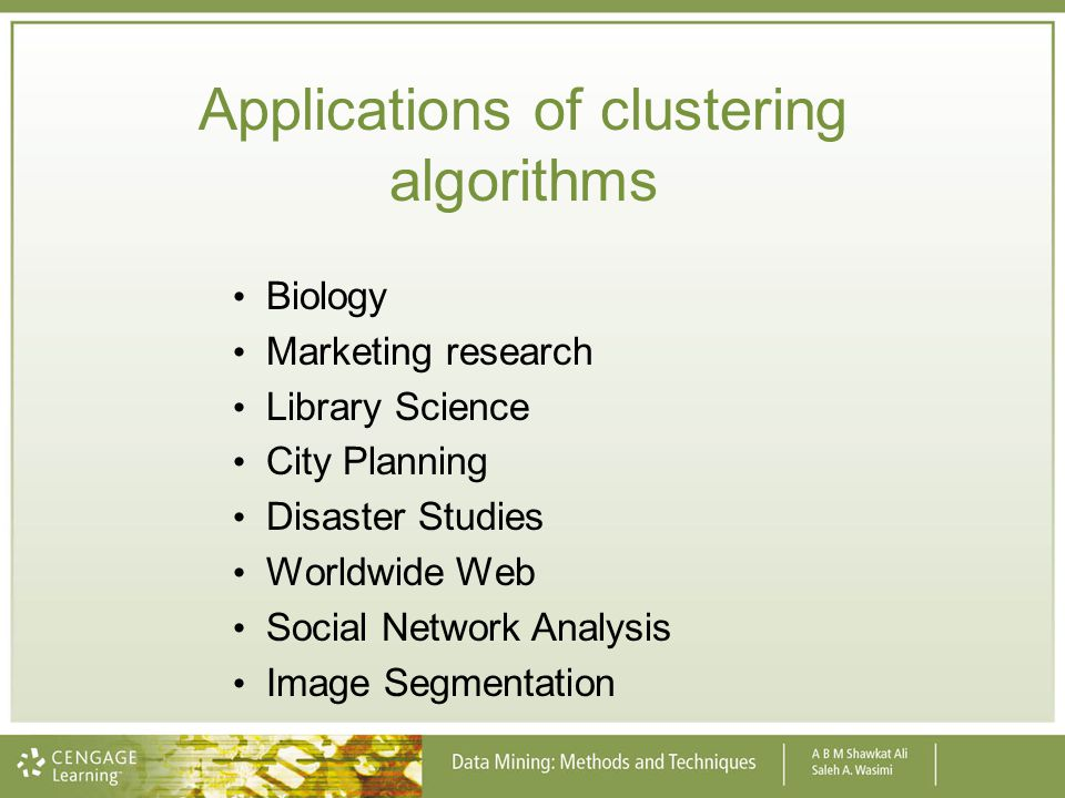 Applications of clustering algorithms