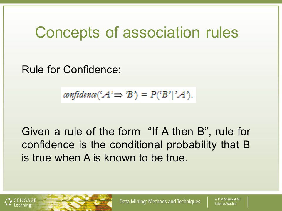 Concepts of association rules
