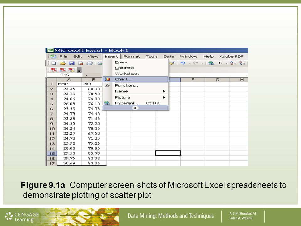 Figure 9.1a Computer screen-shots of Microsoft Excel spreadsheets to