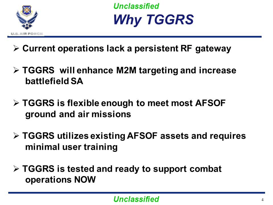 Why TGGRS Current operations lack a persistent RF gateway