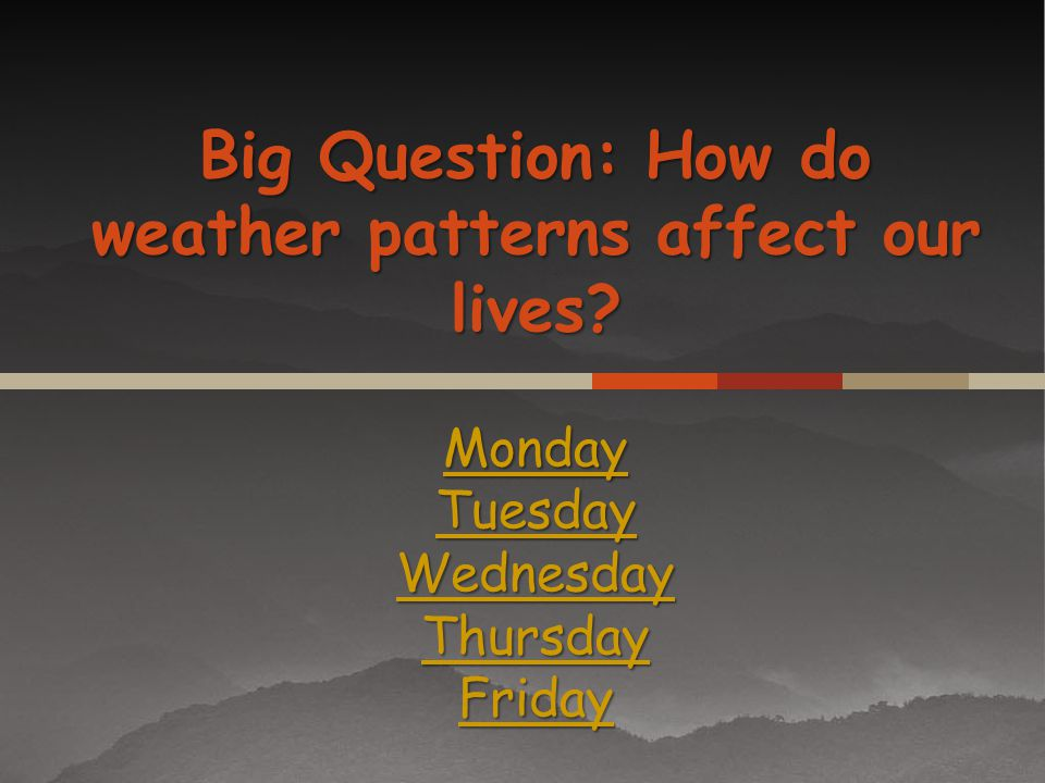 Big Question: How do weather patterns affect our lives