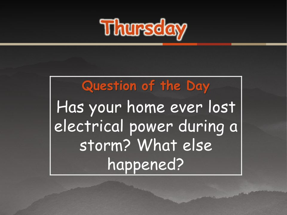 Thursday Question of the Day. Has your home ever lost electrical power during a storm.