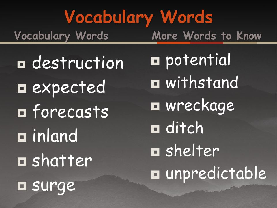 Vocabulary Words expected forecasts inland shatter surge potential