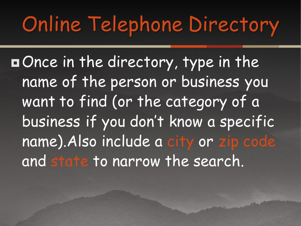 Online Telephone Directory
