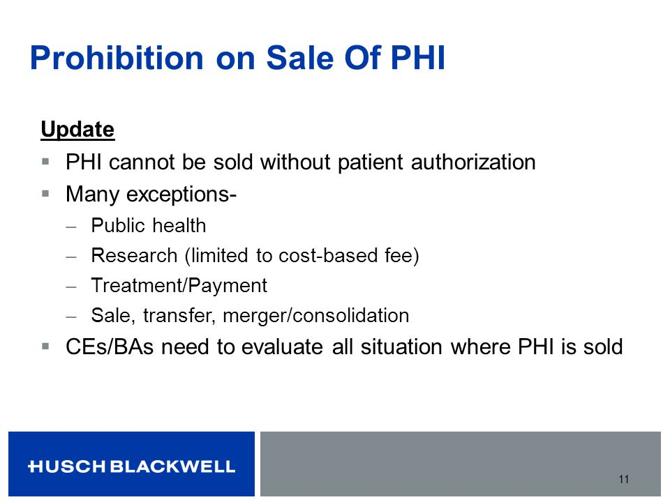 Prohibition on Sale Of PHI