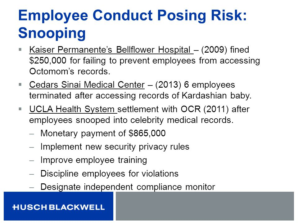 Employee Conduct Posing Risk: Snooping