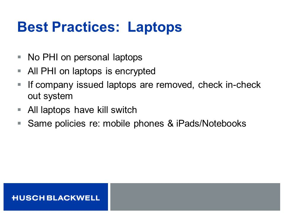 Best Practices: Laptops