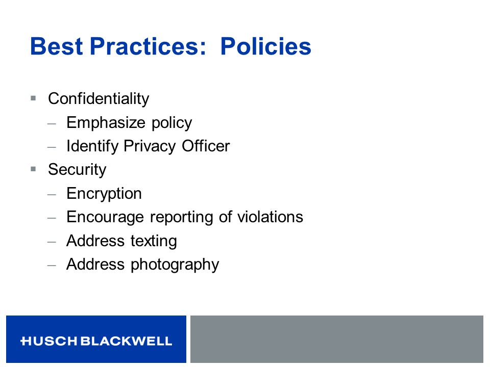 Best Practices: Policies