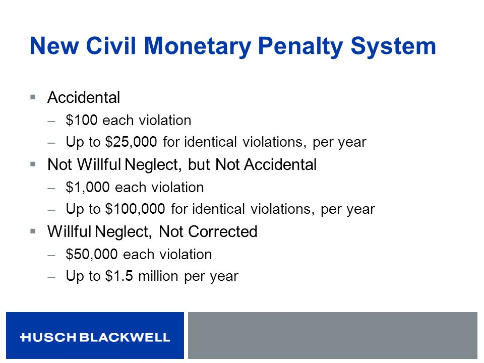 New Civil Monetary Penalty System