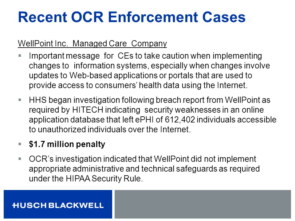 Recent OCR Enforcement Cases