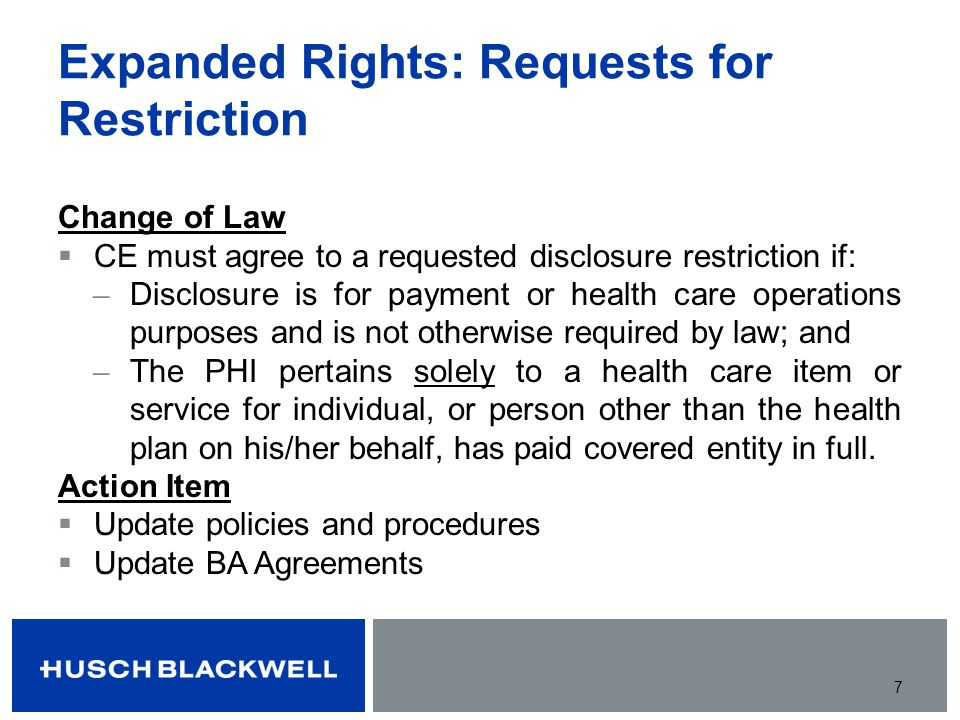Expanded Rights: Requests for Restriction
