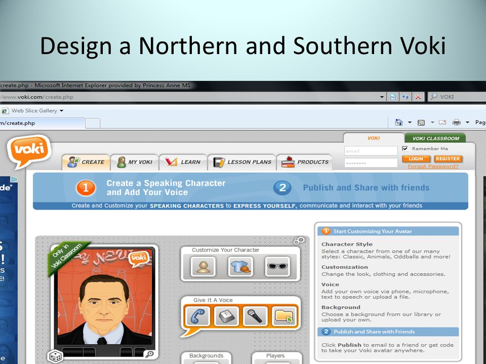 Design a Northern and Southern Voki