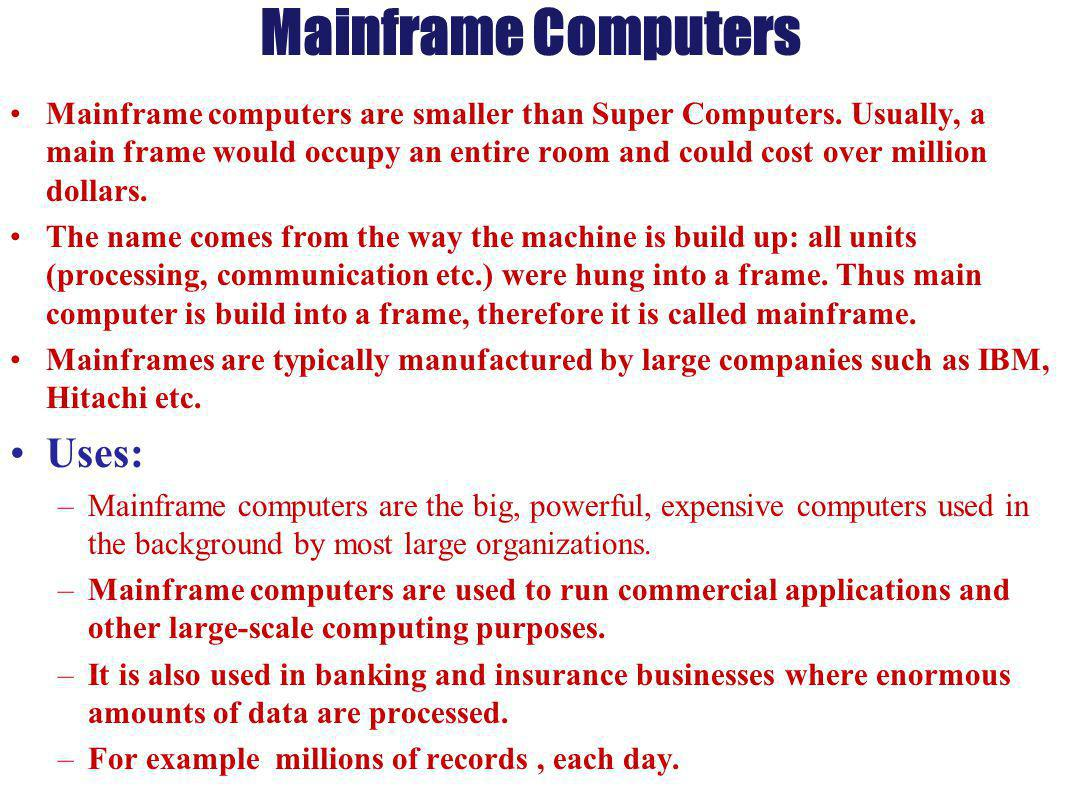 Types of computers on the basis of principle of for Construction types insurance