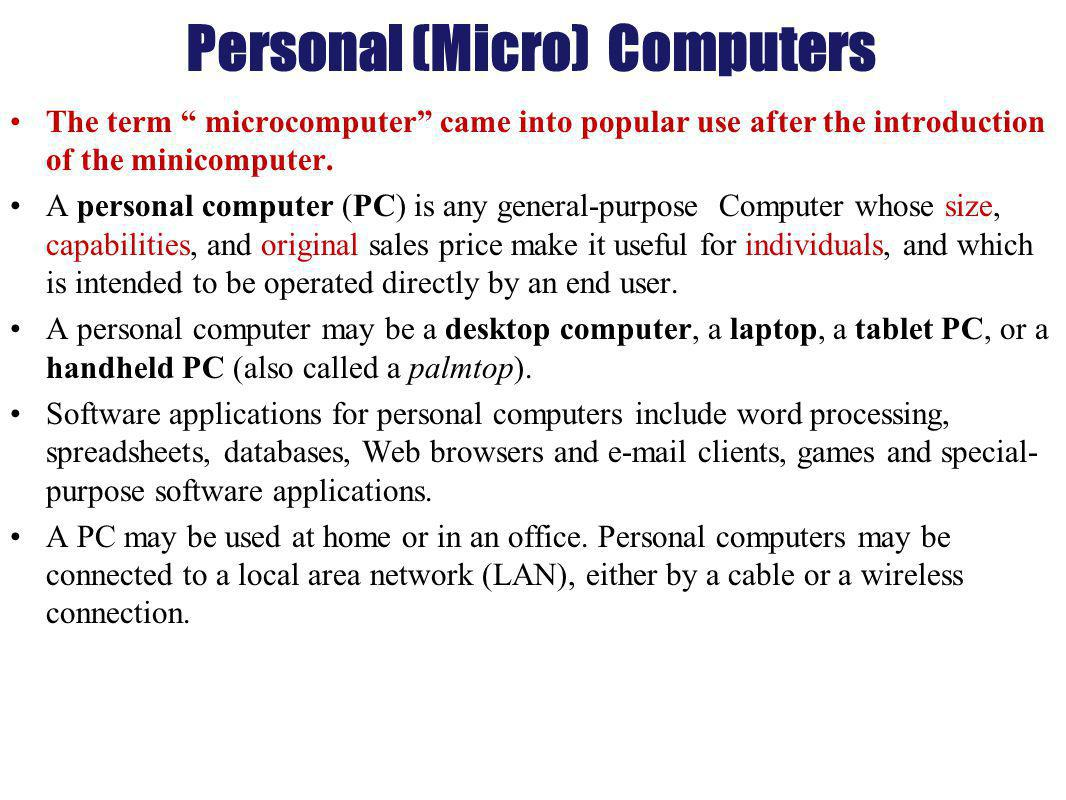 Personal (Micro) Computers