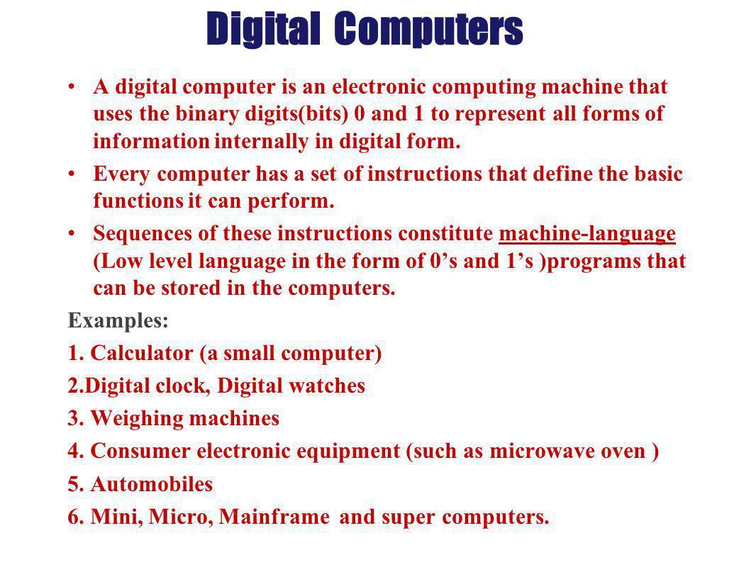 Digital Computers