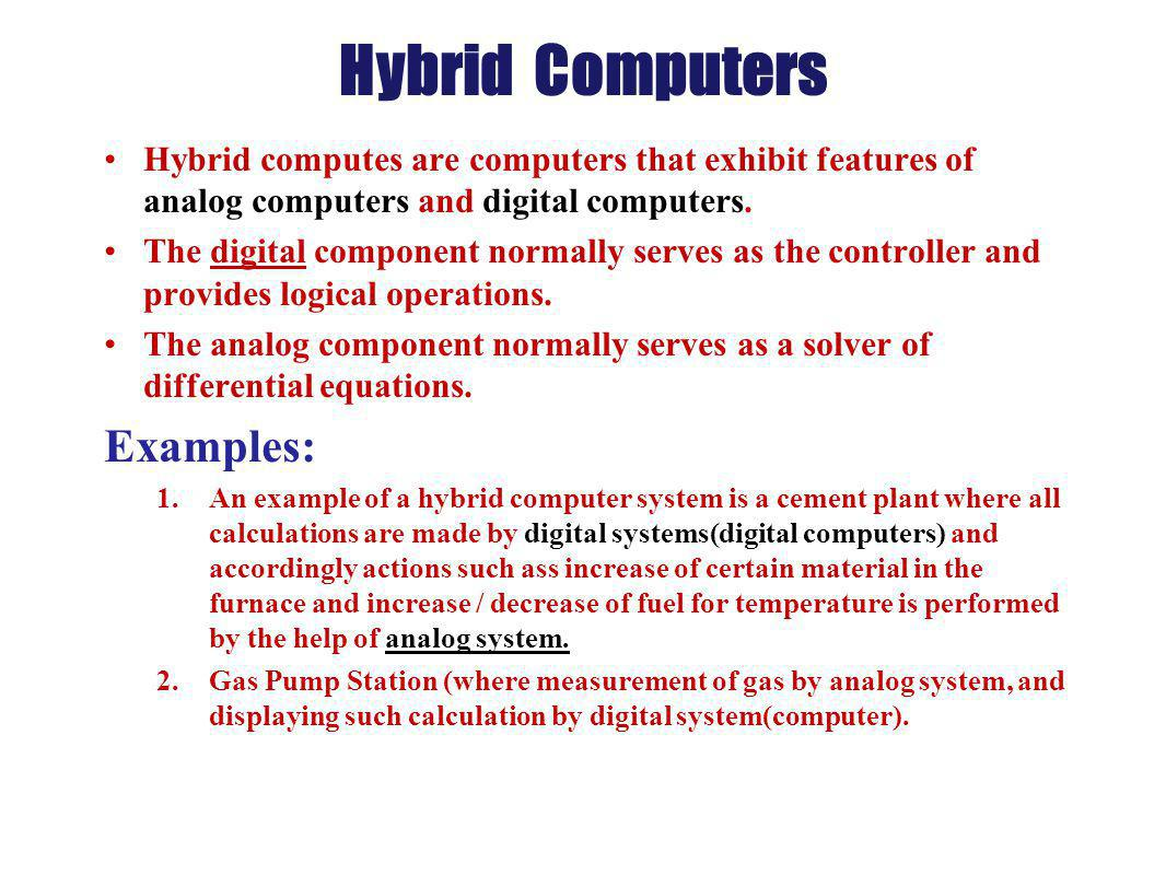 Hybrid Computers Examples: