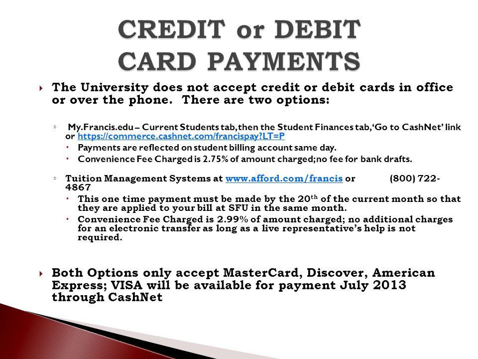 CREDIT or DEBIT CARD PAYMENTS