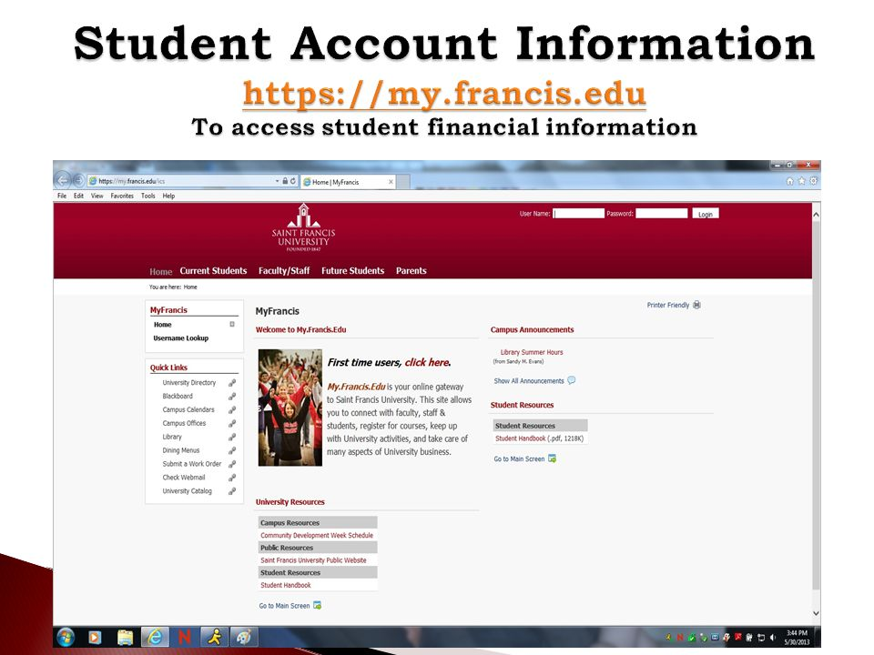 Student Account Information   francis