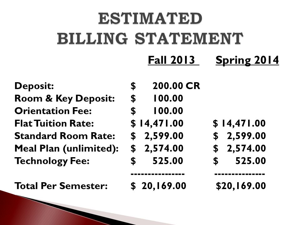 ESTIMATED BILLING STATEMENT