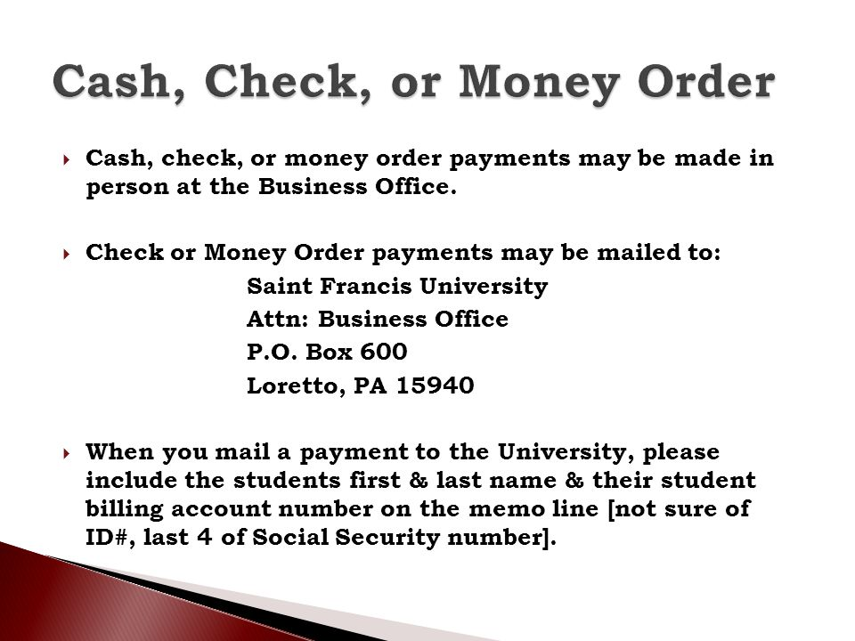 Cash, Check, or Money Order
