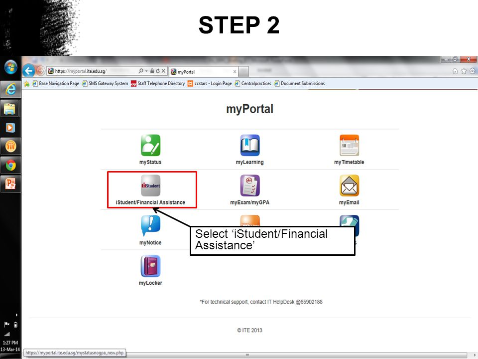 STEP 2 Select 'iStudent/Financial Assistance'