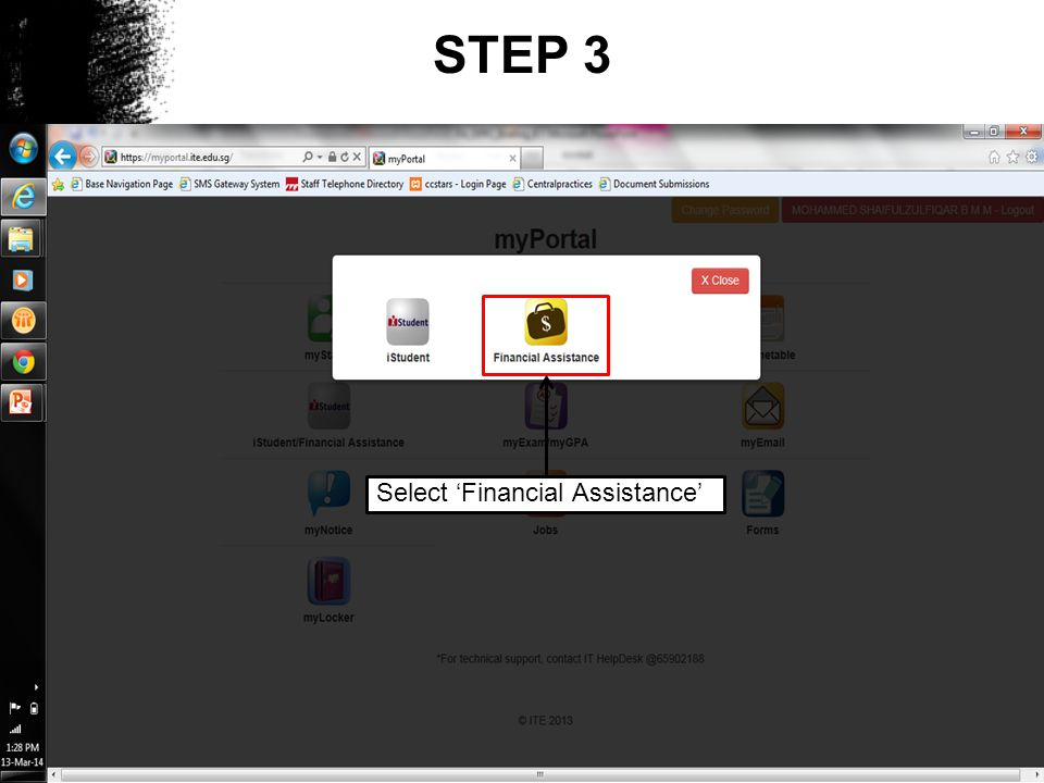 STEP 3 Select 'Financial Assistance'
