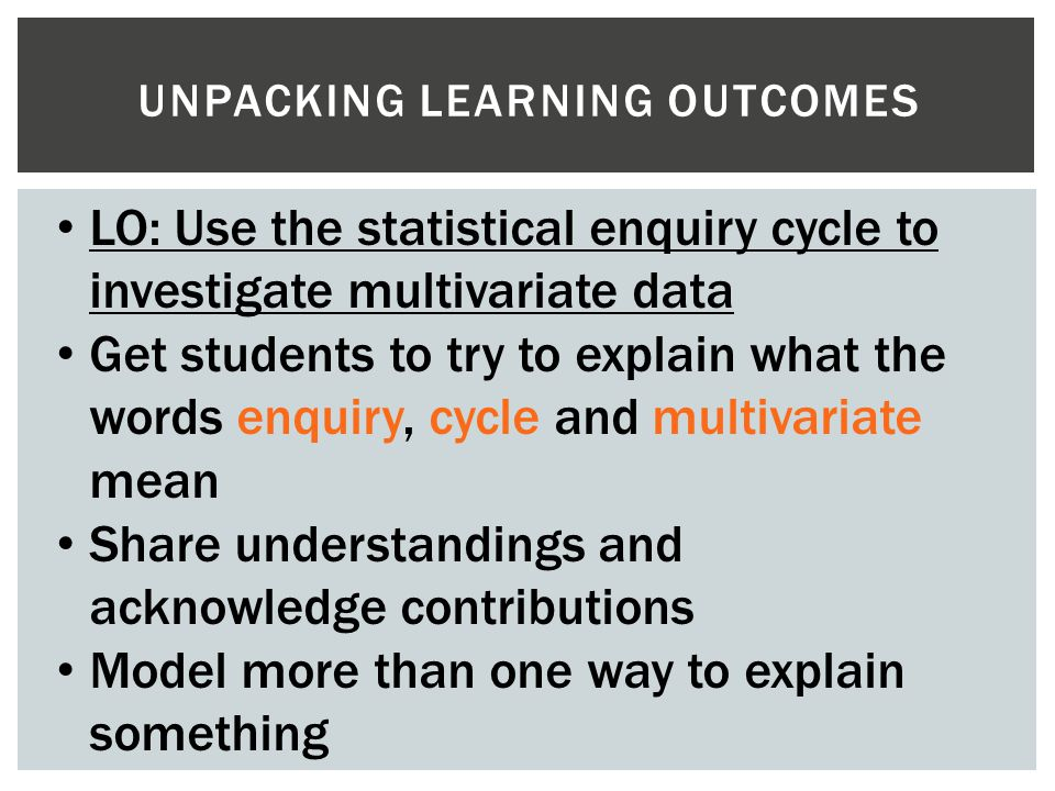 UNPACKING LEARNING OUTCOMES