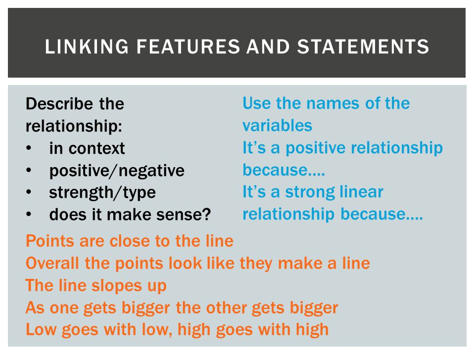Linking features and statements