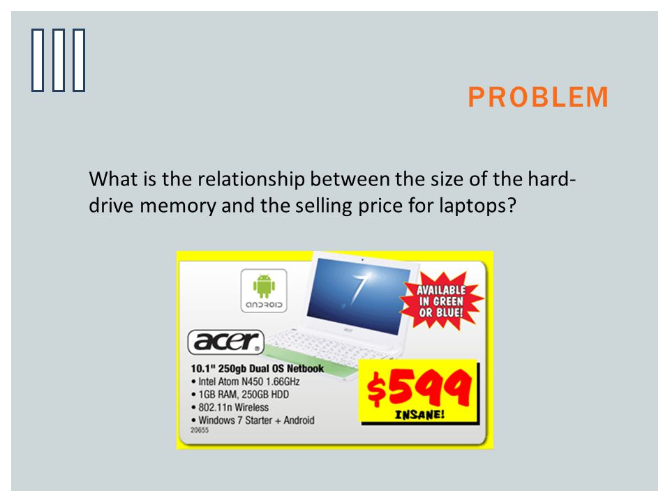 Problem What is the relationship between the size of the hard-drive memory and the selling price for laptops