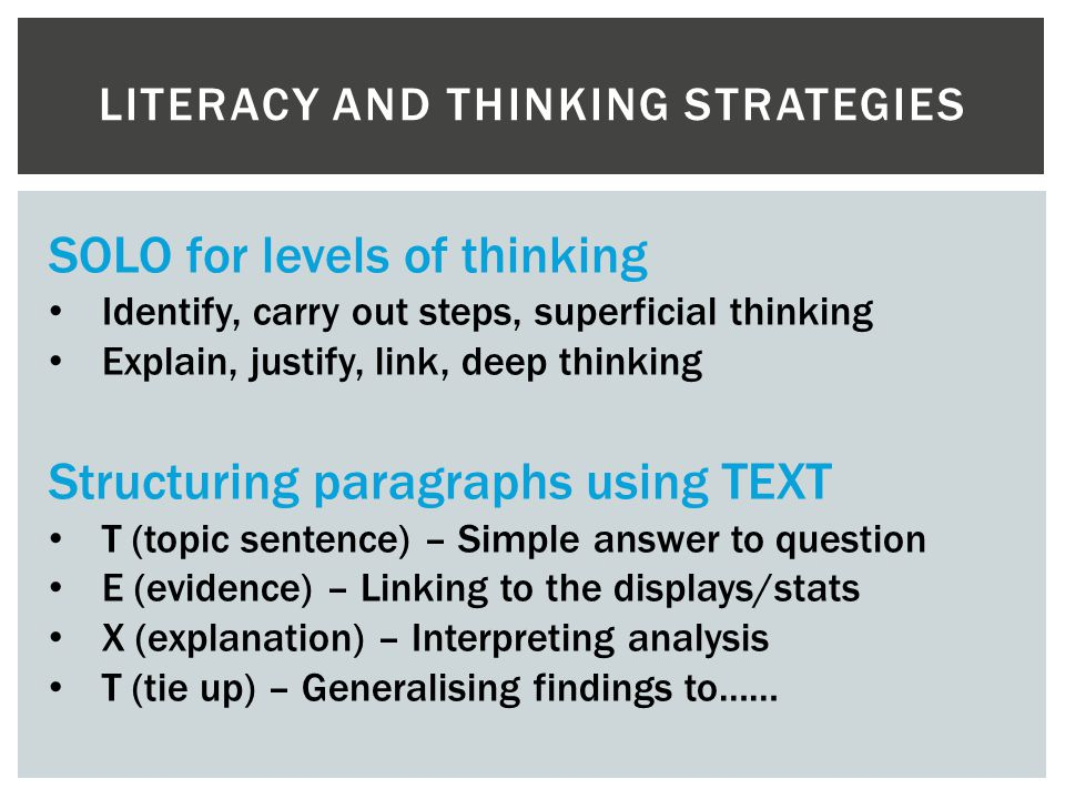 Literacy and thinking strategies