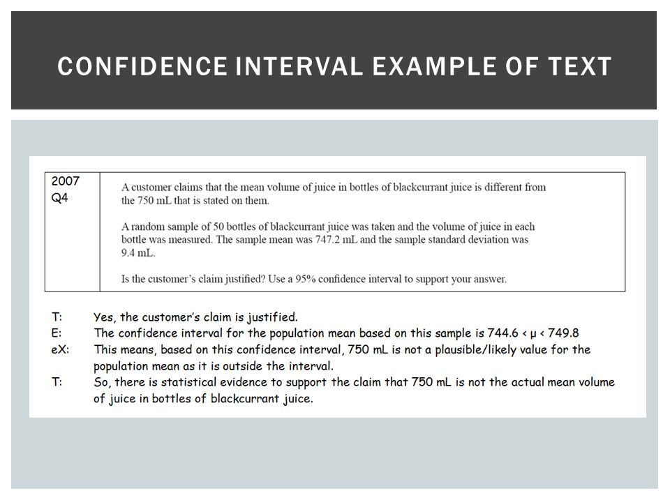 Confidence interval example of text