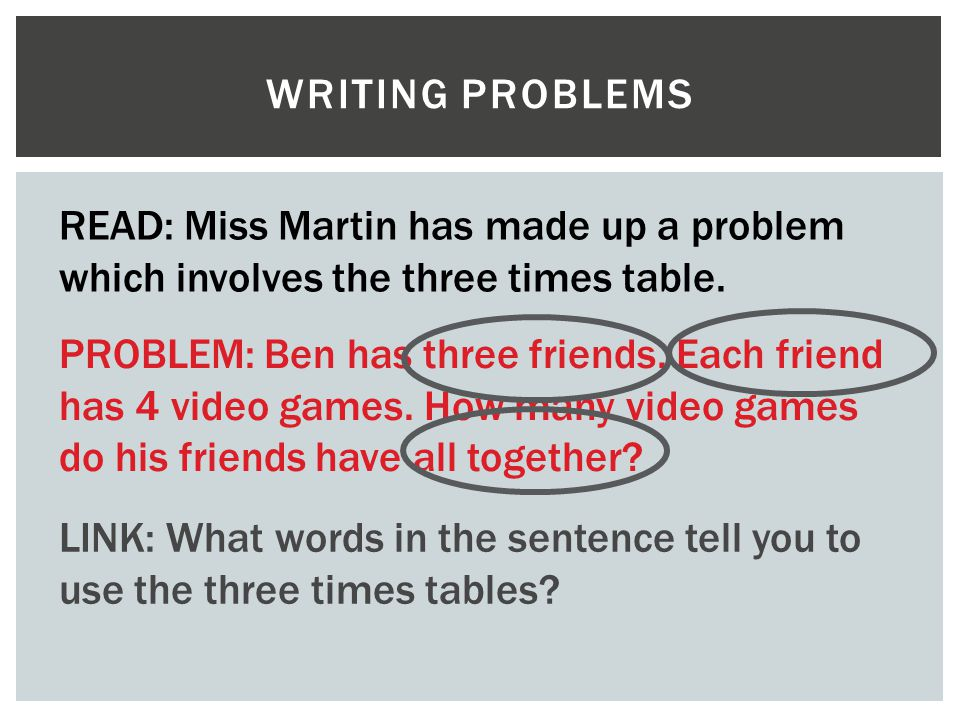 Writing problems READ: Miss Martin has made up a problem which involves the three times table.