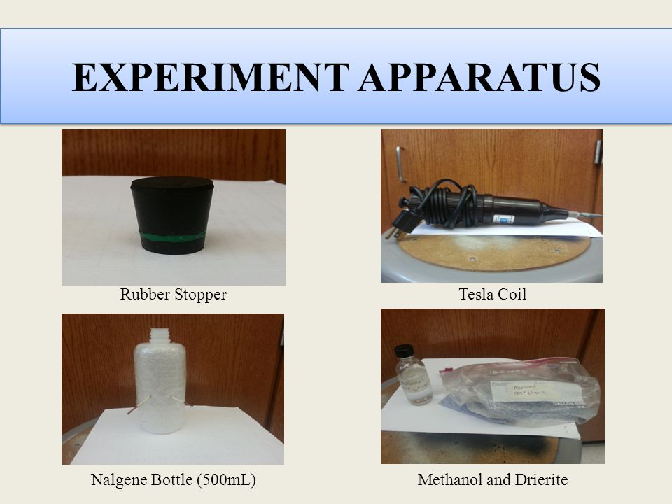 EXPERIMENT APPARATUS Rubber Stopper Tesla Coil Methanol and Drierite