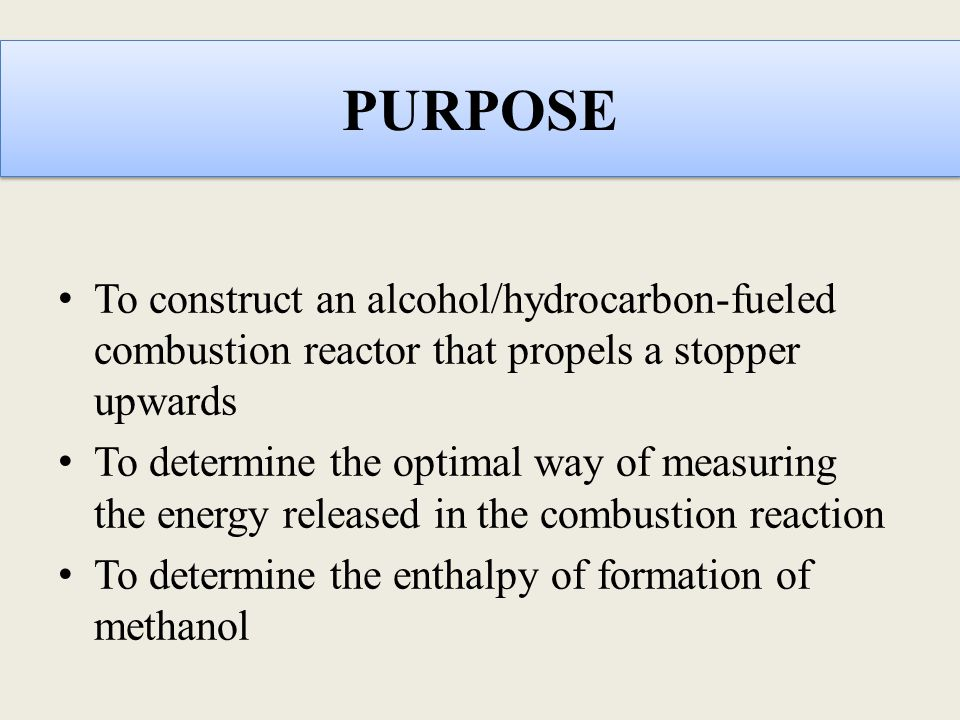 PURPOSE To construct an alcohol/hydrocarbon-fueled combustion reactor that propels a stopper upwards.