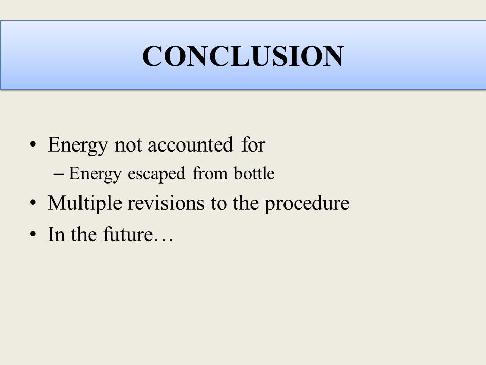 CONCLUSION Energy not accounted for