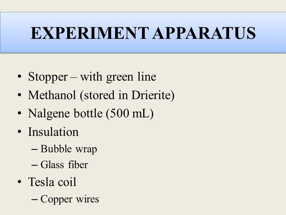 EXPERIMENT APPARATUS Stopper – with green line