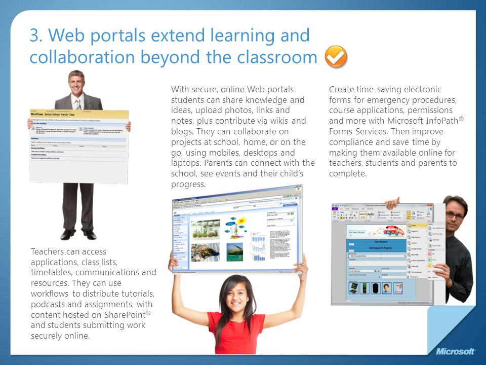 3. Web portals extend learning and collaboration beyond the classroom