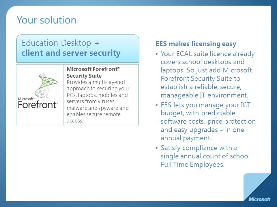 Your solution Education Desktop + client and server security