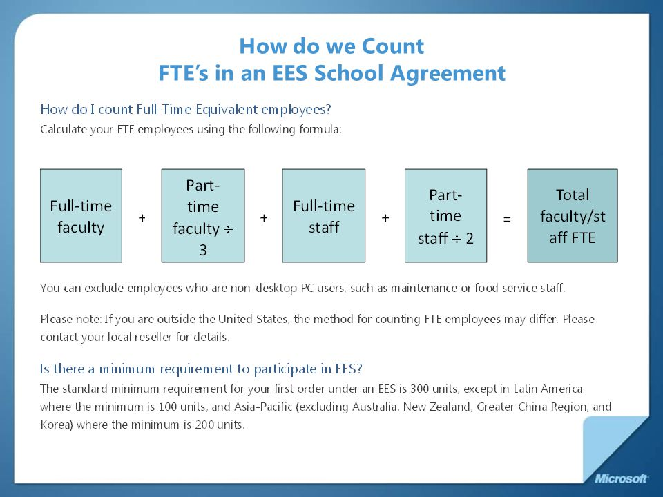 How do we Count FTE's in an EES School Agreement