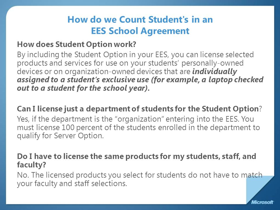 How do we Count Student s in an EES School Agreement