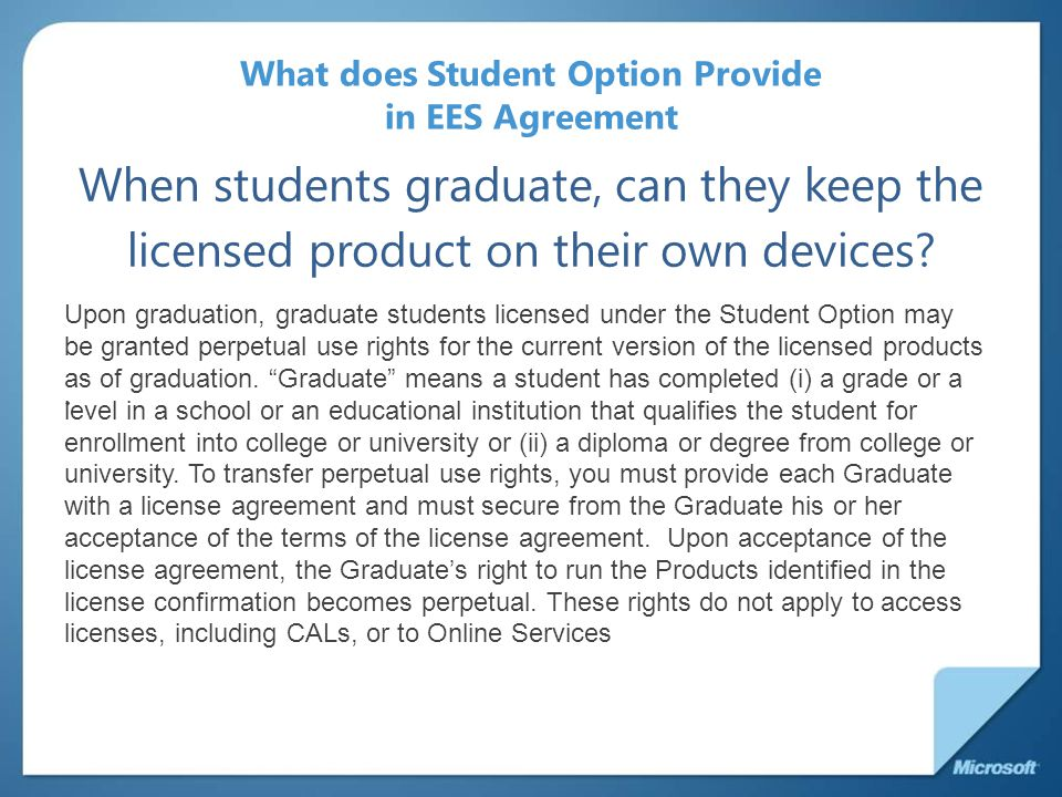 What does Student Option Provide in EES Agreement