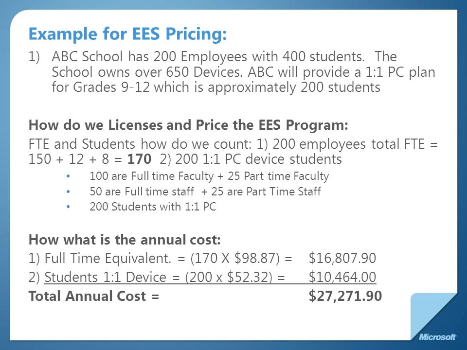 Example for EES Pricing: