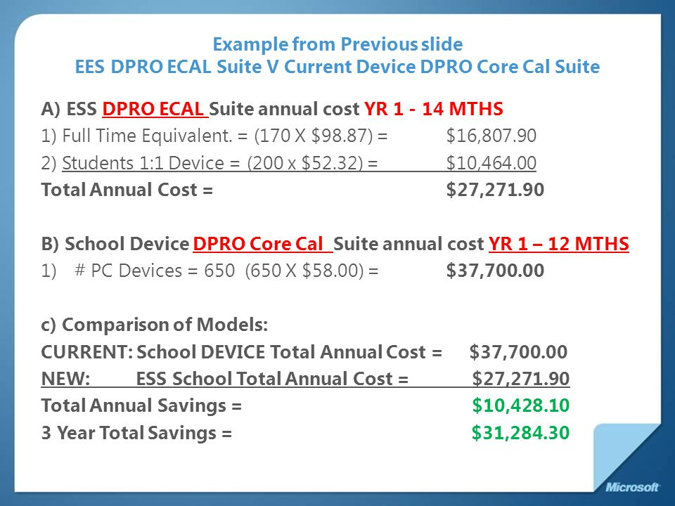 Example from Previous slide EES DPRO ECAL Suite V Current Device DPRO Core Cal Suite